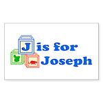 Baby Blocks Joseph Sticker (Rectangle 50 pk)