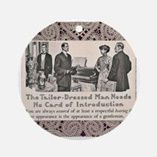 Edwardian Tailor Ad Ornament (Round)