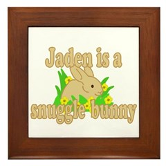 Jaden is a Snuggle Bunny Framed Tile