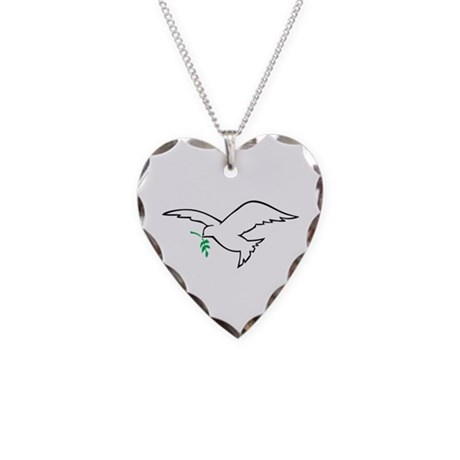 Dove is Love Necklace Heart Charm