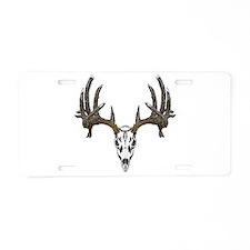 Whitetail deer skull Aluminum License Plate