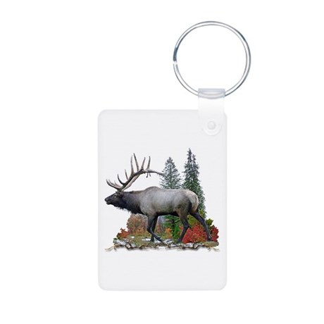 Bull Elk Aluminum Photo Keychain