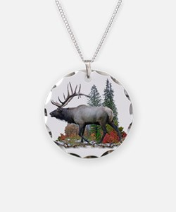 Bull Elk Necklace Circle Charm