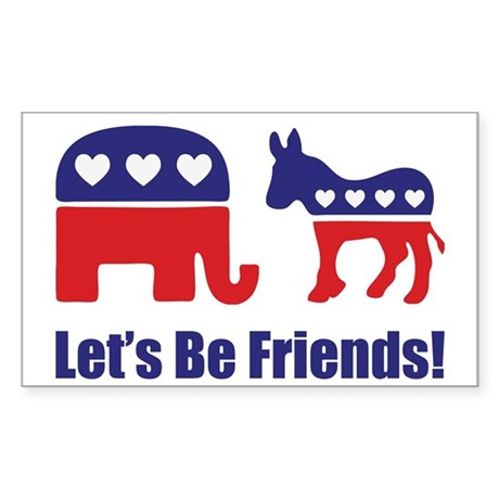 Let's Be Friends! Sticker (Rectangle)
