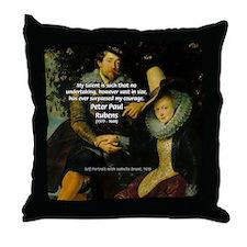 Rubens Self Portrait & Quote Throw Pillow