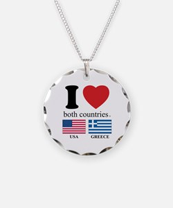 USA-GREECE Necklace Circle Charm