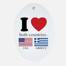 USA-GREECE Ornament (Oval)