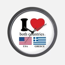USA-GREECE Wall Clock
