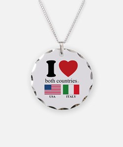 USA-ITALY Necklace Circle Charm