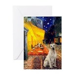 Cafe-Yellow Lab 7 Greeting Card