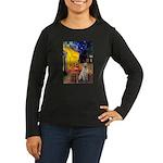 Cafe-Yellow Lab 7 Women's Long Sleeve Dark T-Shirt