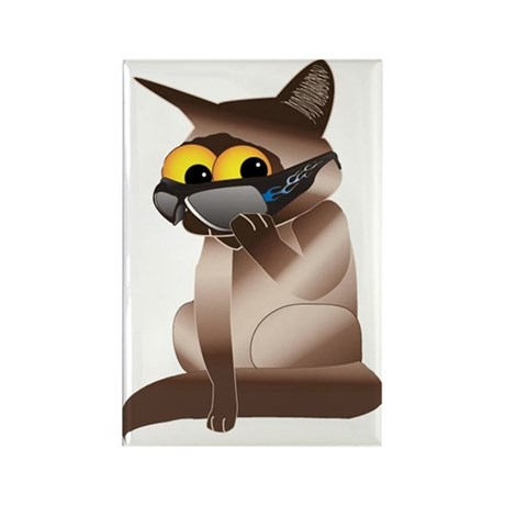 Goofy Cat Rectangle Magnet (100 pack)