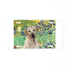 Irises - Yellow Labrador Aluminum License Plate