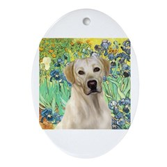 Irises - Yellow Labrador Ornament (Oval)
