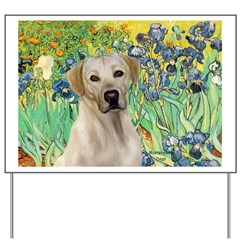 Irises - Yellow Labrador Yard Sign
