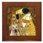 The Kiss-Yellow Lab Framed Tile
