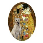 The Kiss-Yellow Lab Ornament (Oval)