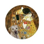 The Kiss-Yellow Lab Ornament (Round)