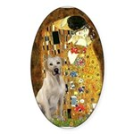 The Kiss-Yellow Lab Sticker (Oval 50 pk)