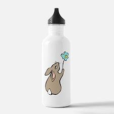 Bunny Blue Flower Sports Water Bottle