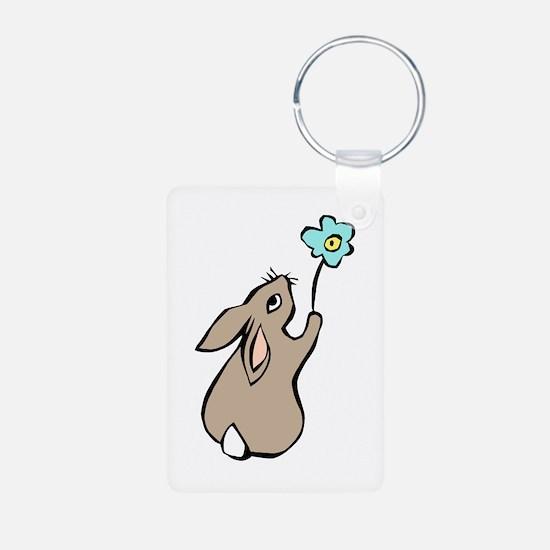 Bunny Blue Flower Keychains