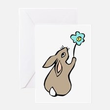 Bunny Blue Flower Greeting Card