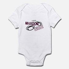 Maroon and White Infant Bodysuit