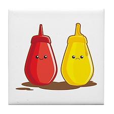 Ketchup and Mustard Tile Coaster