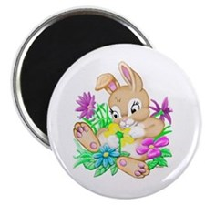 Bunny With Flowers Magnet