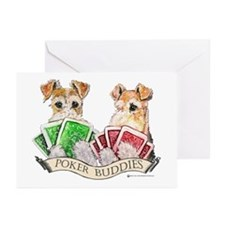 Fox Terrier Poker Buddies Greeting Cards (Package
