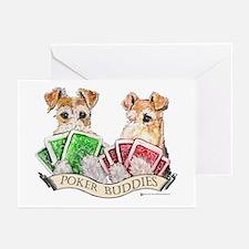 Fox Terrier Poker Buddies Greeting Cards (Package