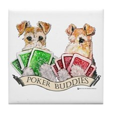 Fox Terrier Poker Buddies Tile Coaster