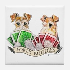 Fox Terrier Poker Buddies Tile Coaster