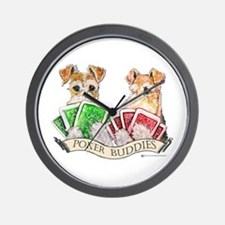 Fox Terrier Poker Buddies Wall Clock