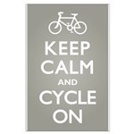 Keep Calm Cycle On Large Poster