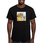 Sunflowers-Yellow Lab 7 Men's Fitted T-Shirt (dark