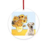Sunflowers-Yellow Lab 7 Ornament (Round)