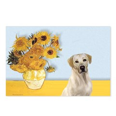 Sunflowers-Yellow Lab 7 Postcards (Package of 8)