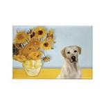 Sunflowers-Yellow Lab 7 Rectangle Magnet (10 pack)