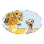 Sunflowers-Yellow Lab 7 Sticker (Oval 10 pk)