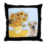 Sunflowers-Yellow Lab 7 Throw Pillow