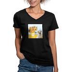 Sunflowers-Yellow Lab 7 Women's V-Neck Dark T-Shir