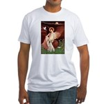 Seated Angel-Yellow Lab 7 Fitted T-Shirt