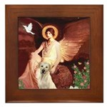 Seated Angel-Yellow Lab 7 Framed Tile