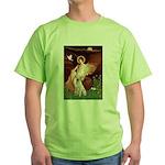 Seated Angel-Yellow Lab 7 Green T-Shirt