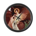 Seated Angel-Yellow Lab 7 Large Wall Clock