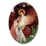 Seated Angel-Yellow Lab 7 Ornament (Oval)