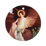 Seated Angel-Yellow Lab 7 Ornament (Round)