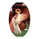 Seated Angel-Yellow Lab 7 Sticker (Oval 10 pk)