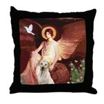 Seated Angel-Yellow Lab 7 Throw Pillow